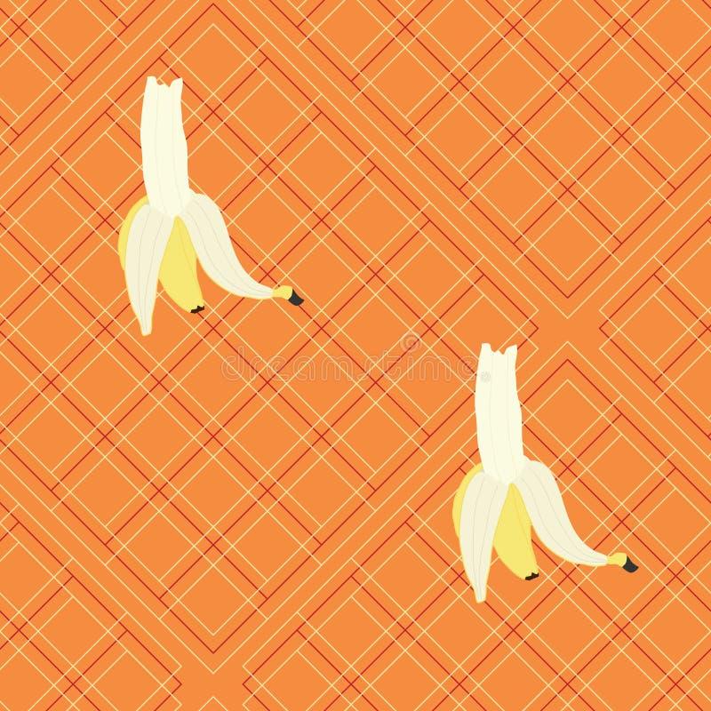 Tela escocesa con los plátanos grandes en fondo anaranjado fotos de archivo