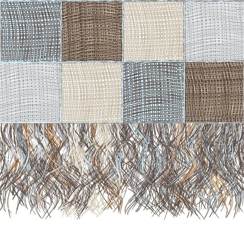Tela escocesa de lana a cuadros del relevo con la franja ilustración del vector