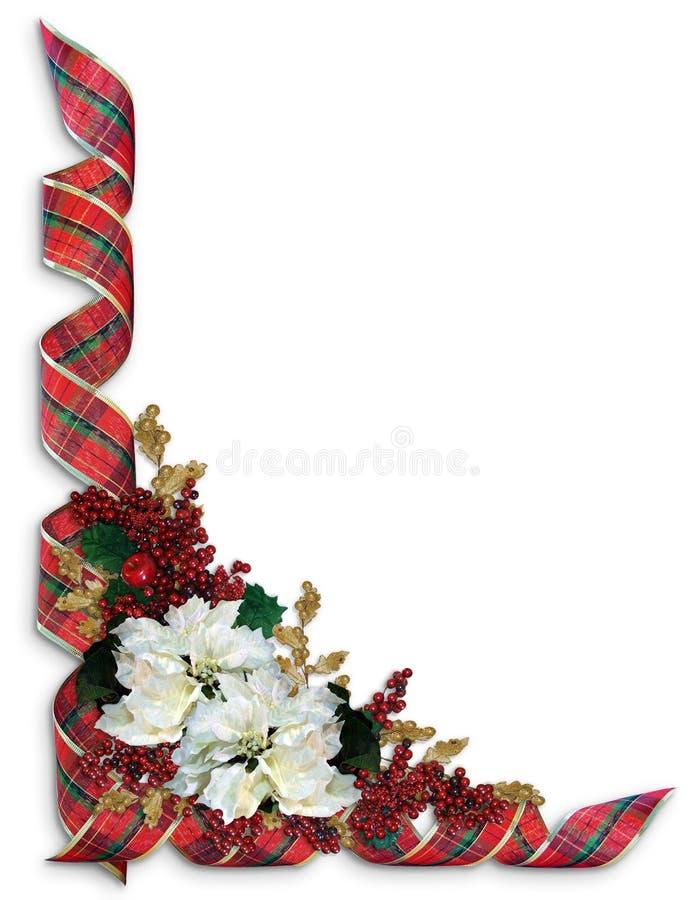 Tela escocesa de las cintas de la Navidad con las flores del día de fiesta imagen de archivo
