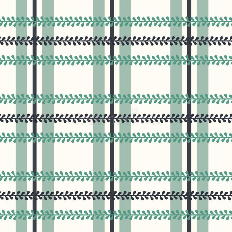 Tela escocesa del folclore del vector con el bígaro en fondo inconsútil brillante del modelo stock de ilustración