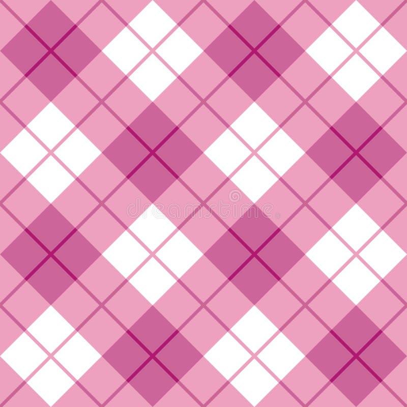 Tela escocesa diagonal en rosa stock de ilustración