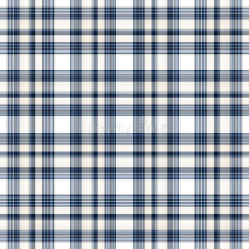 Tela escocesa inconsútil blanca azul stock de ilustración