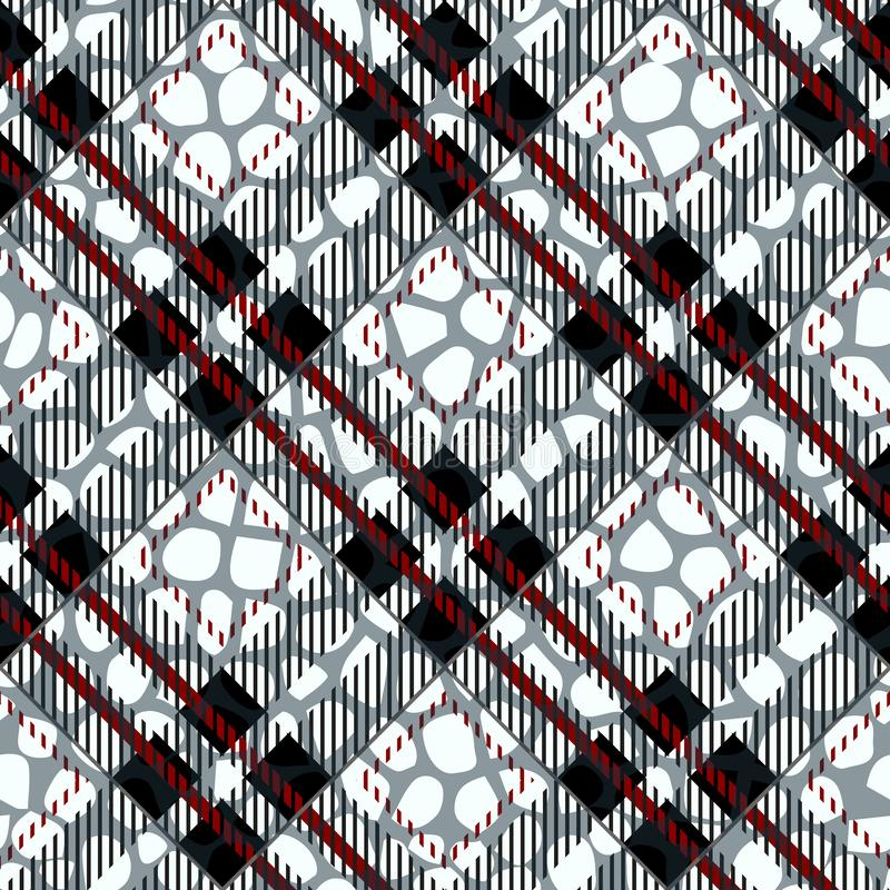 Tela escocesa, tartán inconsútil con cuero del modelo de la piel del cocodrilo Cocodrilo piel wallpaper Fondo monocromático Papel stock de ilustración