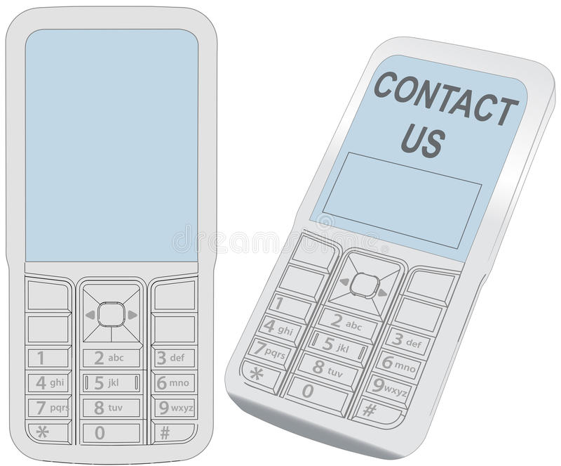 Tela esperta do contato de uma comunicação do telefone de pilha ilustração do vetor