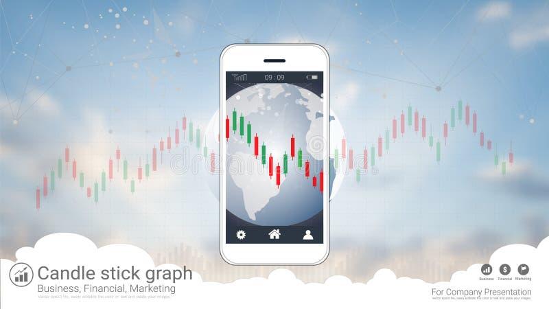 Tela esperta do telefone que mostra o castiçal e a carta financeira do gráfico ilustração royalty free