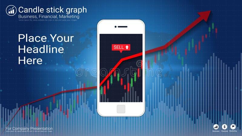 Tela esperta do telefone que mostra o castiçal e cartas financeiras do gráfico ilustração royalty free