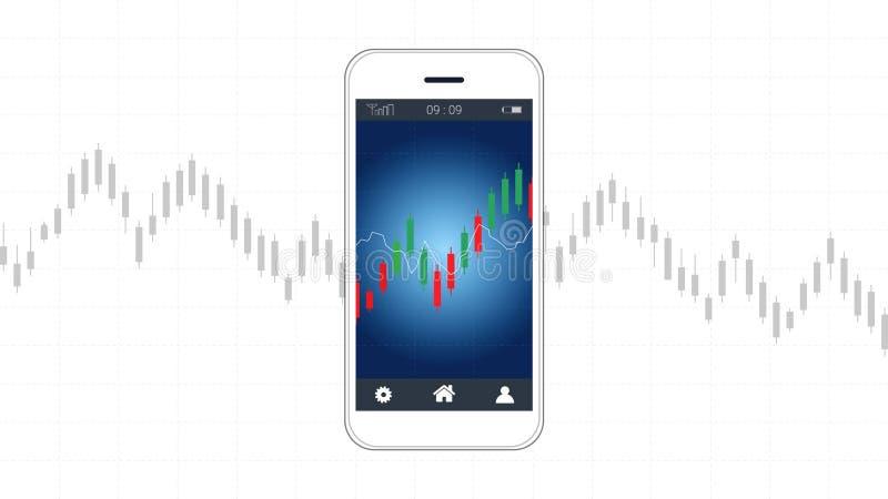 Tela esperta do telefone que mostra o castiçal e cartas financeiras do gráfico ilustração stock