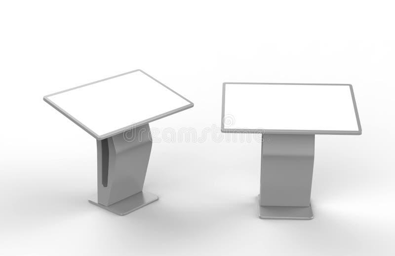 Tela interativa de Hd do Signage de Digitas do quiosque da visualização ótica de tela táctil do LCD, produto do quiosque da expos ilustração do vetor