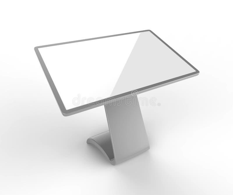 Tela interativa de Hd do Signage de Digitas do quiosque da visualização ótica de tela táctil do LCD, produto do quiosque da expos ilustração stock