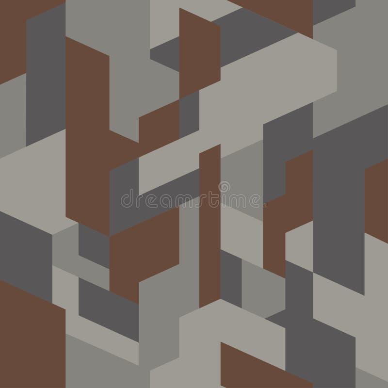 Tela isométrica da camuflagem Textura elegante, vetor Teste padrão sem emenda poligonal do camo geométrico ilustração stock