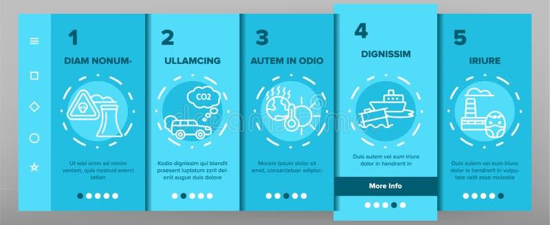 Tela móvel da página do App de Onboarding do vetor ambiental da poluição do ar ilustração stock