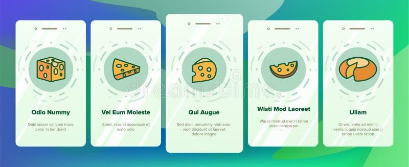 Tela móvel da página do App de Onboarding do vetor do queijo cheddar ilustração do vetor
