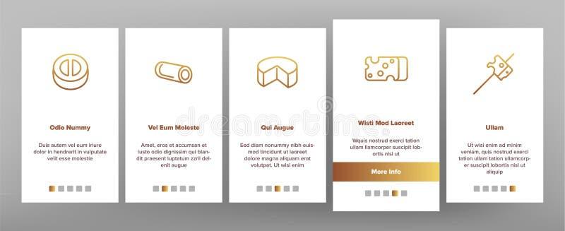 Tela móvel da página do App de Onboarding do vetor do queijo cheddar ilustração royalty free