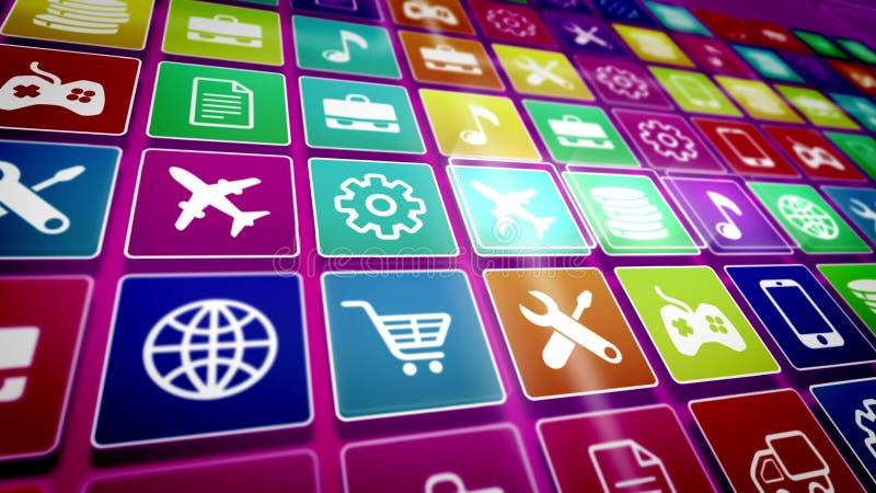 Tela móvel do ícone da aplicação ilustração stock