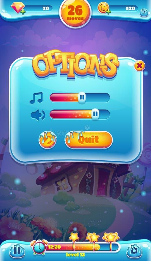 Tela móvel do volume sadio do GUI do mundo doce para os jogos video da Web ilustração royalty free