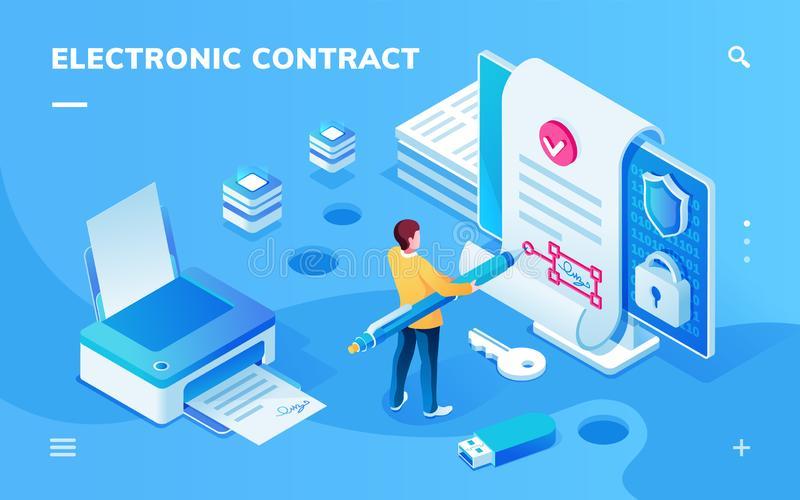 Tela para o app eletrônico do contrato ou da assinatura ilustração stock