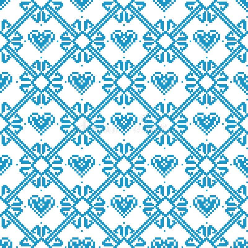 Tela sem emenda Feliz Natal e ano novo feliz estoque A ocasião pixels Cor branca e azul ilustração do vetor