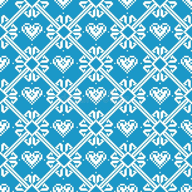 Tela sem emenda Feliz Natal e ano novo feliz A ocasião pixels Cor branca e azul ilustração do vetor