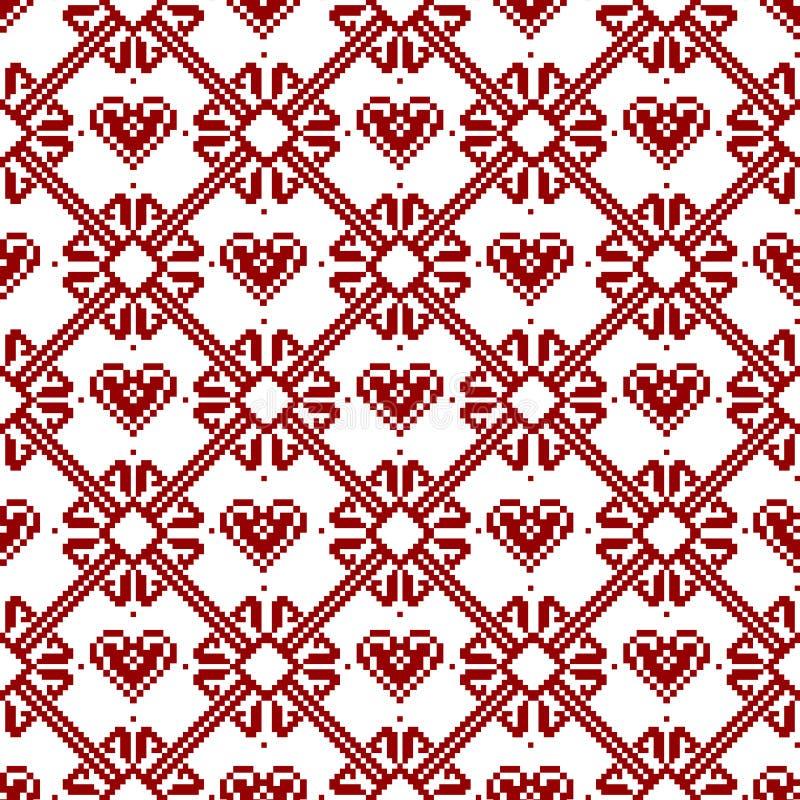 Tela sem emenda Feliz Natal e ano novo feliz A ocasião pixels Cor branca e vermelha ilustração stock