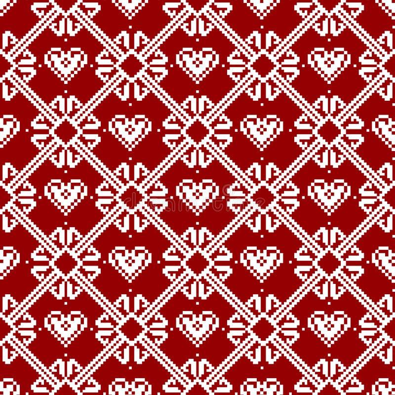 Tela sem emenda Feliz Natal e ano novo feliz A ocasião pixels Cor branca e vermelha ilustração do vetor