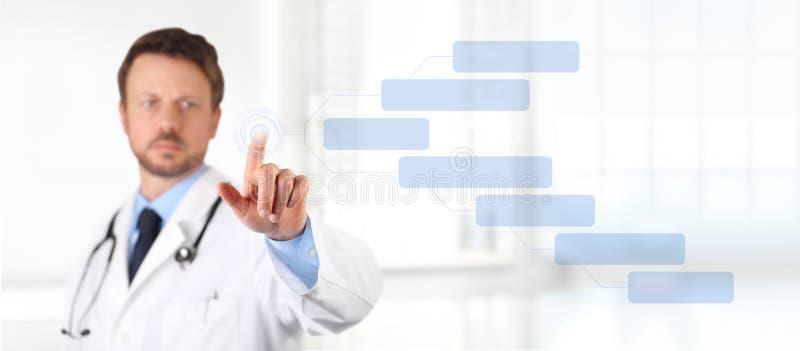 Tela táctil do doutor com conceito médico da saúde do dedo fotografia de stock royalty free