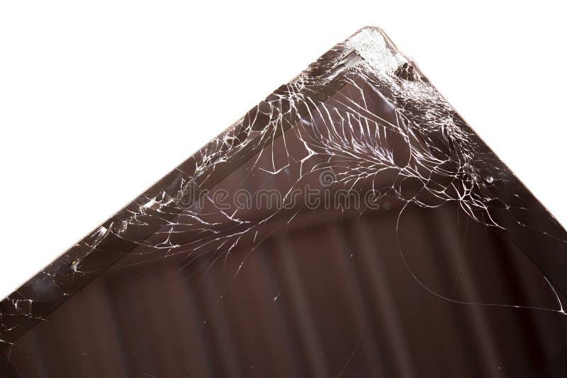 Tela táctil quebrado close up da tabuleta foto de stock