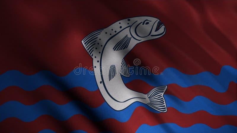 Tela tornando-se abstrata da bandeira animation Imagem de grandes peixes cinzentos sobre ondas azuis no fundo do vermelho tornand ilustração do vetor