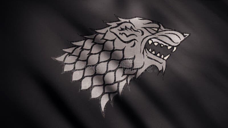 Tela tornando-se abstrata da bandeira animation Imagem do lobo cinzento com a boca aberta na raiva contra a bandeira negra tornan ilustração do vetor