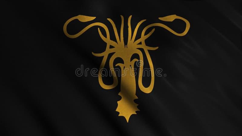 Tela tornando-se abstrata da bandeira animation A silhueta de dourado kraken com os tent?culos no fundo de tornar-se ilustração stock