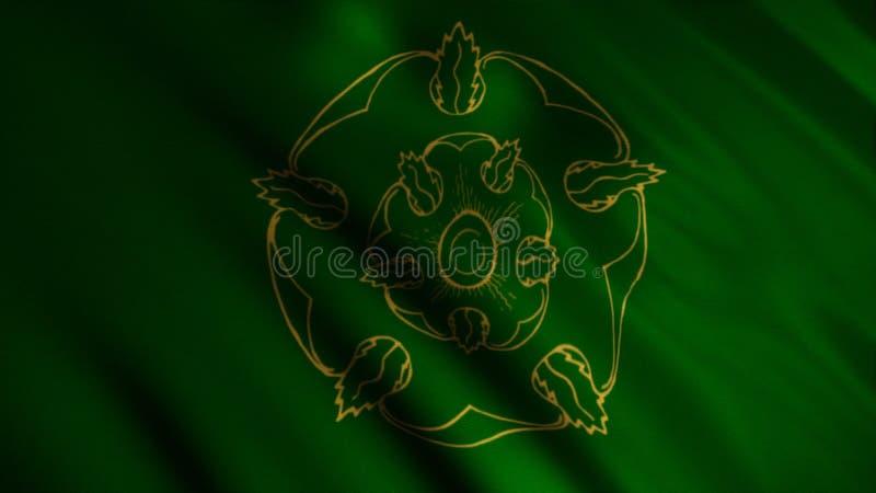 Tela tornando-se abstrata da bandeira animation Silhueta da flor dourada bonita no fundo do verde tornando-se ilustração do vetor