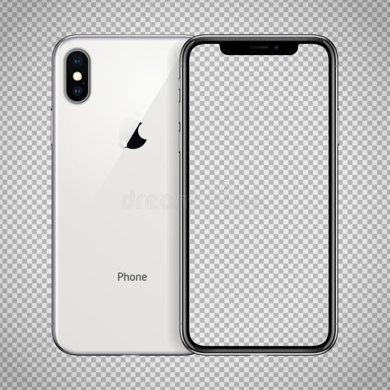 Tela transparente do smartphone branco similar para telefonar a X com a câmera dobro no fundo quadriculado ilustração royalty free