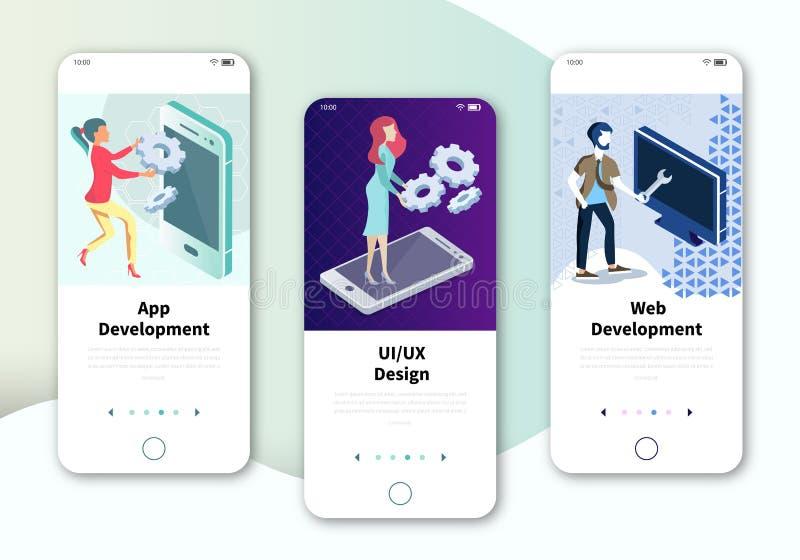 Tela UX moderna, interface do usuário para site móvel ou ágil Conjunto de telas onboard kit de interface do usuário para web ilustração royalty free