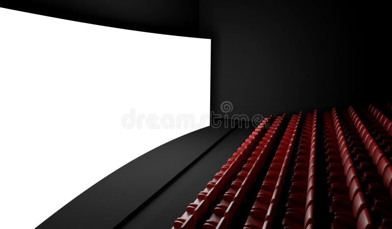 Tela vazia do cinema com auditório ilustração stock