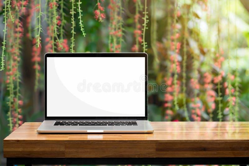 Tela vazia do portátil no jardim verde das flores vermelhas de madeira da tabela foto de stock