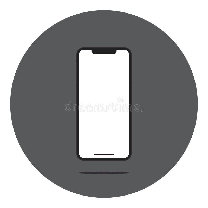 Tela vazia Smartphone com reflex?o e sombra Ilustra??o do vetor Projeto liso das novas tecnologias ilustração do vetor