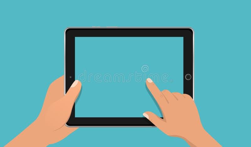 Tela vazia tocante da mão do tablet pc realístico Usando o PC digital da tabuleta, conceito de projeto liso Vetor do EPS 10 ilustração royalty free
