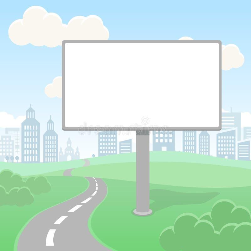 Tela vazia vazia do quadro de avisos do vetor e paisagem urbana para a propaganda e o projeto ilustração stock