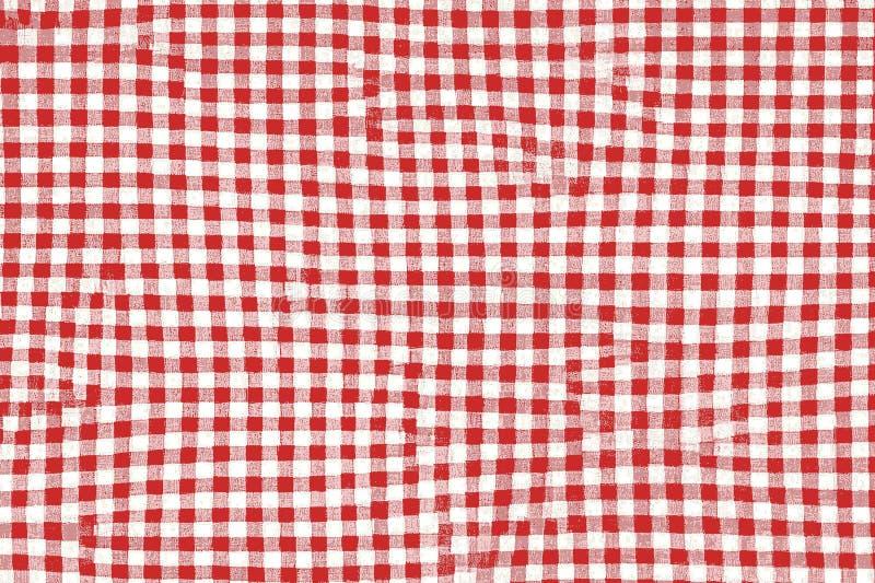 Tela vermelha da cobertura do piquenique com testes padrões e textura esquadrados ilustração royalty free