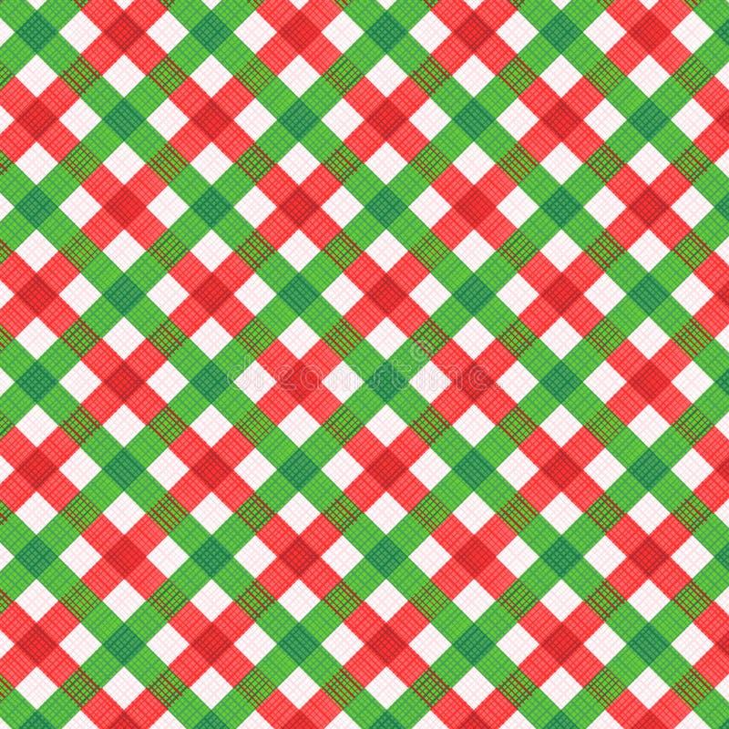 Tela vermelha e verde do Natal do guingão, teste padrão sem emenda incluído ilustração stock