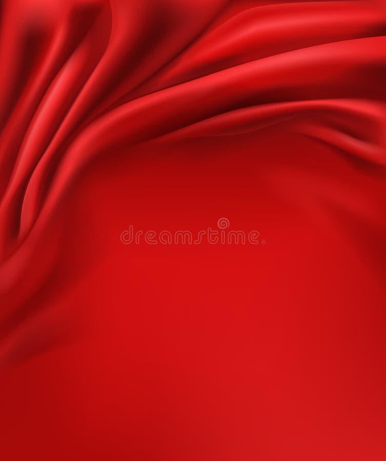 Tela vermelha lisa, fundo ondulado do cetim do vetor ilustração do vetor