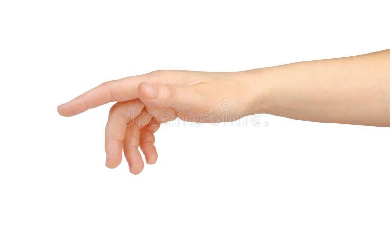 Tela virtual tocante da mão da mulher isolada no branco fotos de stock