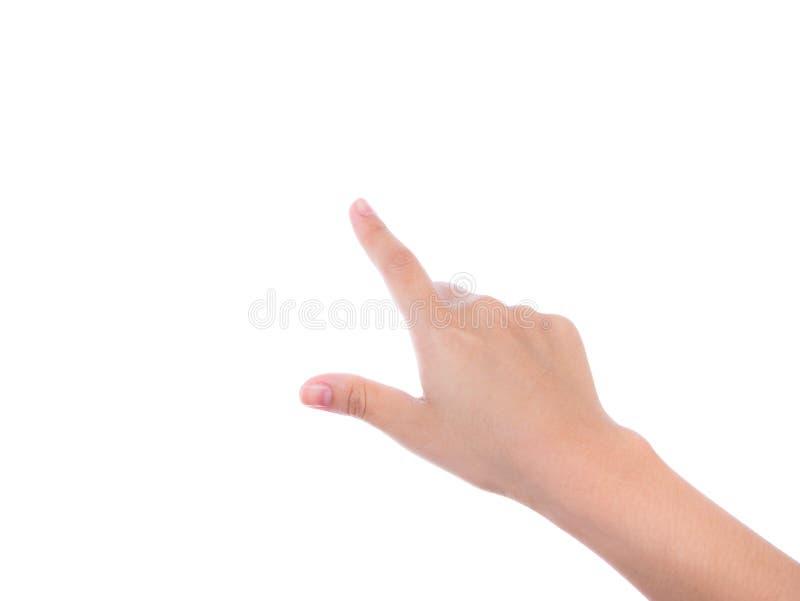 Tela virtual tocante da mão da mulher no fundo branco imagem de stock