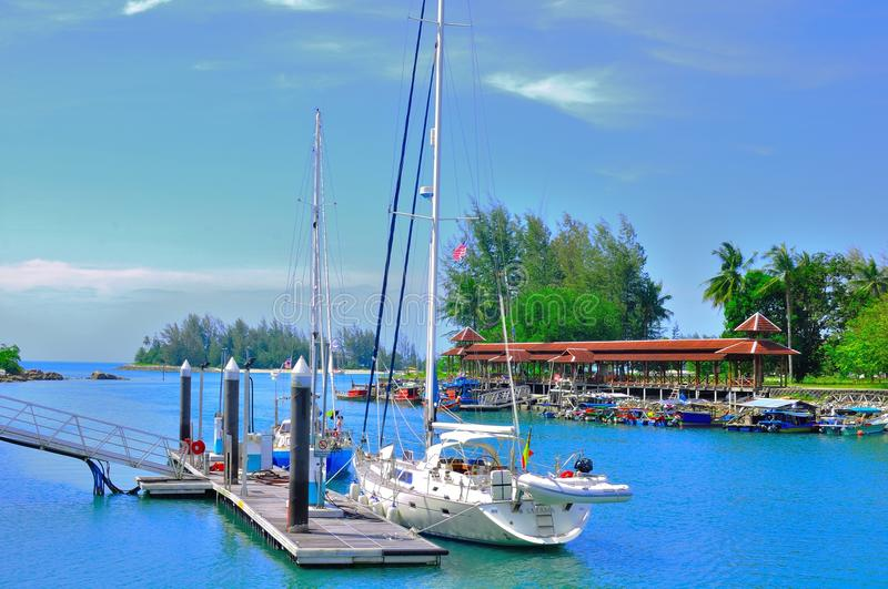 Telaga harbour and Perdana boat quay royalty free stock images