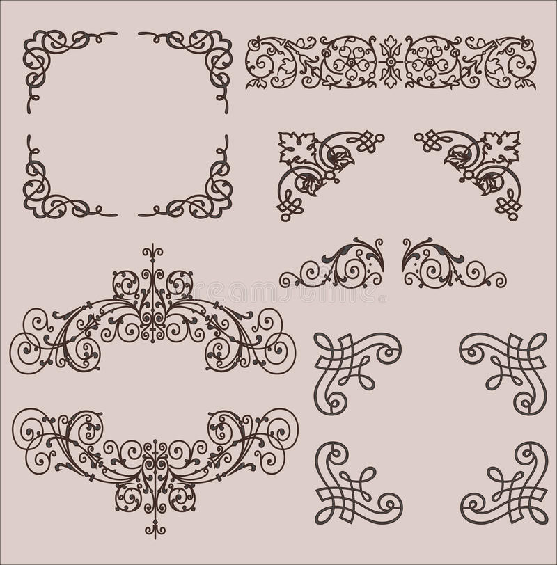 telai Elementi decorativi Insieme di vettore immagini stock