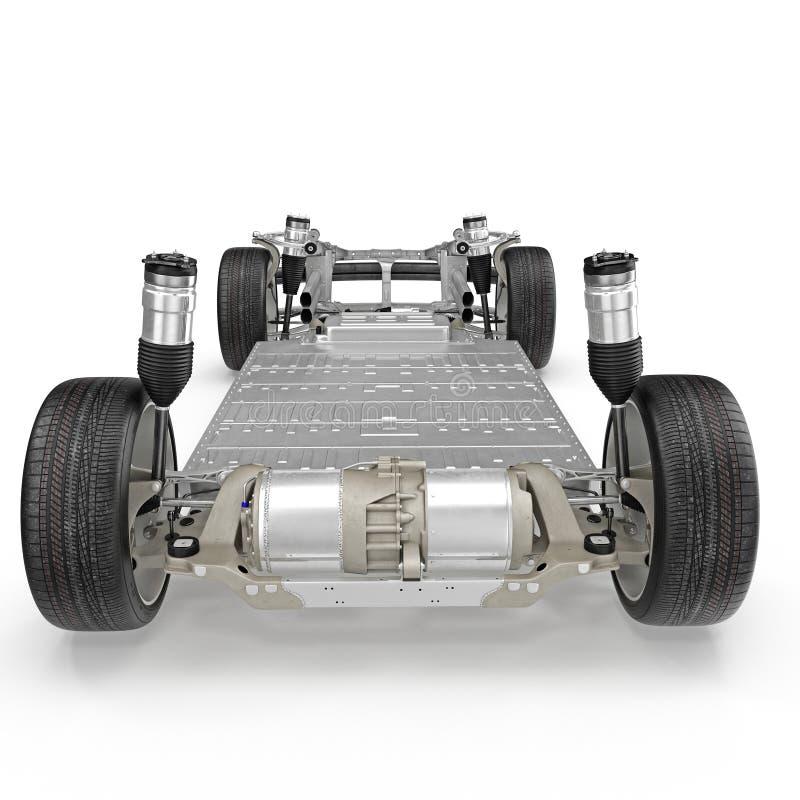 Telaio dell'automobile con il motore elettrico isolato su bianco Isolato su bianco illustrazione 3D royalty illustrazione gratis