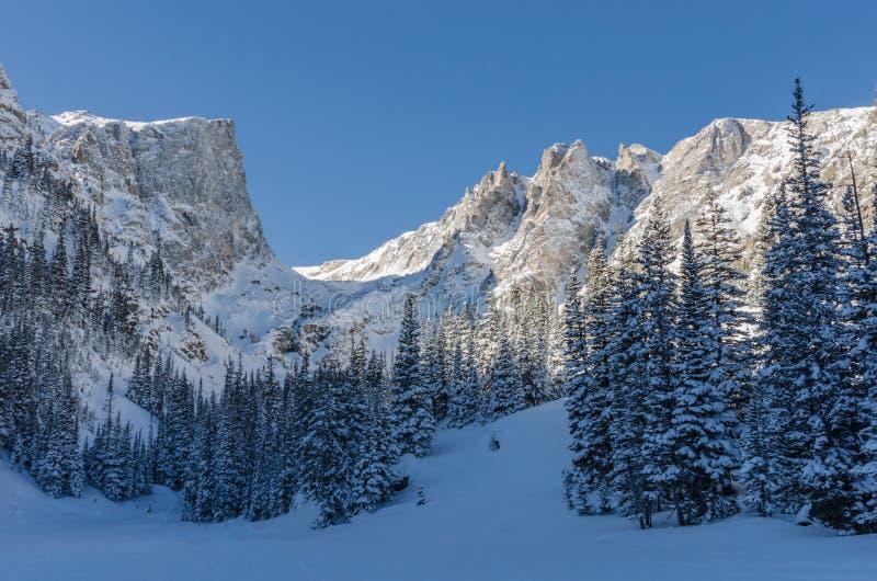 Telaio di Snowy Mountans sopra il lago di sogno immagine stock libera da diritti