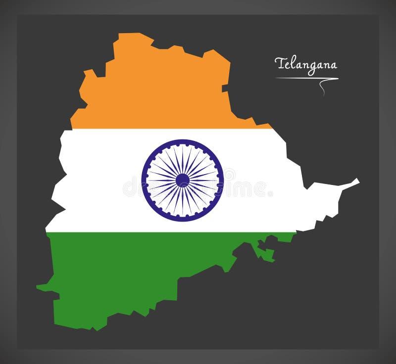 Telangana mapa z Indiańską flaga państowowa ilustracją ilustracji