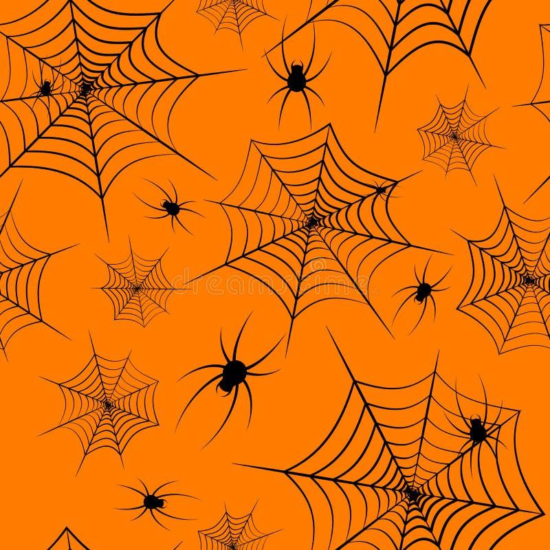 Telaraña y arañas inconsútiles del modelo del tema de Halloween en el fondo creativo del diseño del modelo inconsútil anaranjado  ilustración del vector
