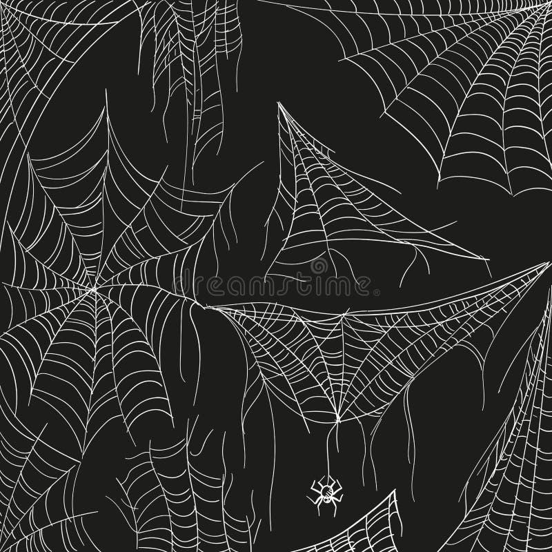 Telara?a fijada en negro Web blanca enredada de la araña para los insectos de cogida Ejemplo de la historieta del mano-drenaje de stock de ilustración