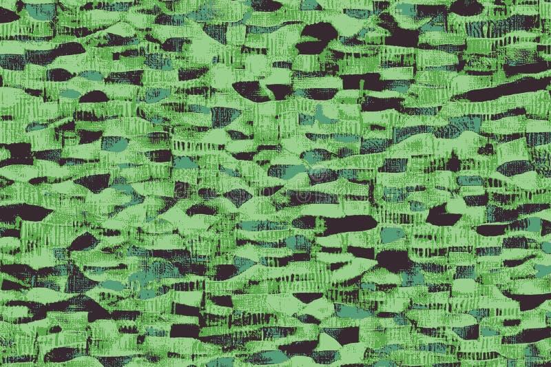 Telas africanas verdes com testes padrões e texturas coloridas ilustração stock